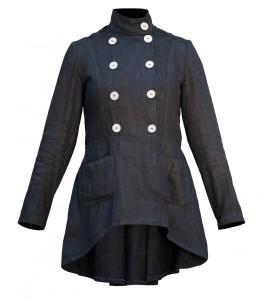 Obr. 8.1 Dámsky kabát zo 100% konopnej látky farbený BIO farbou od Hoja Hemp
